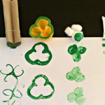 painting shamrocks with various household items