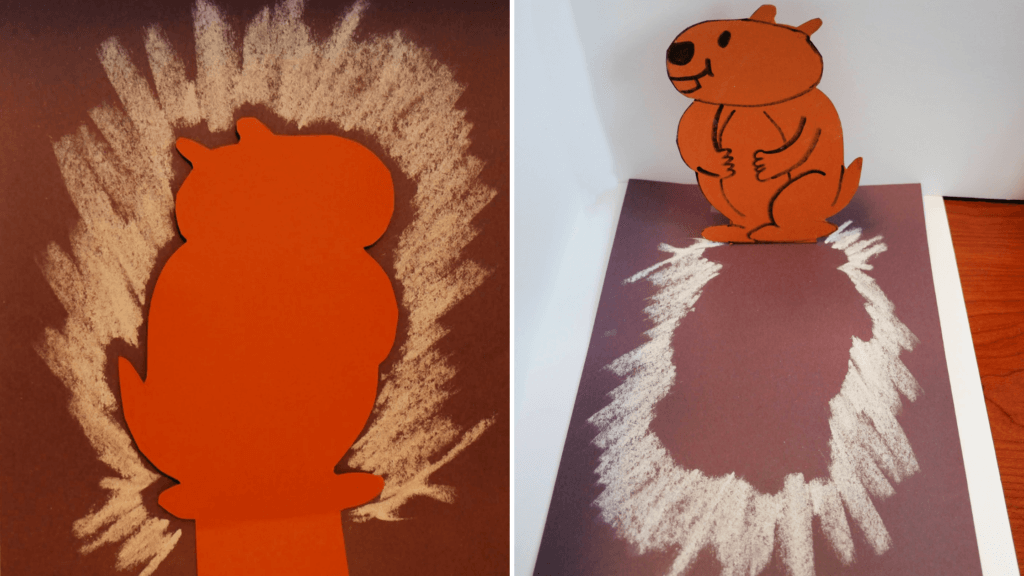 groundhog day crafts for kids using construction paper to show shadow