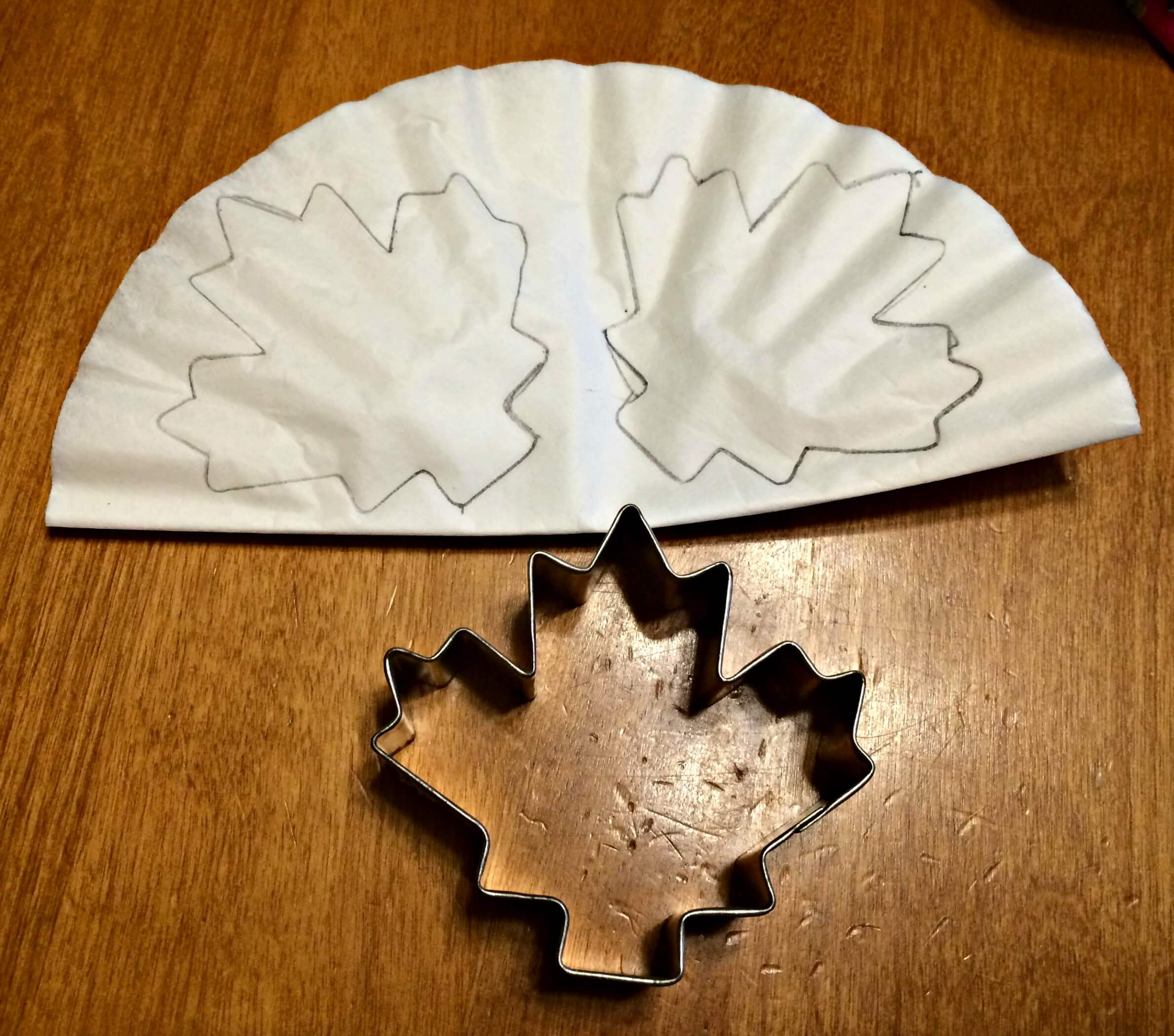 DIY Coffee Filter Fall Leaf Banner stencil