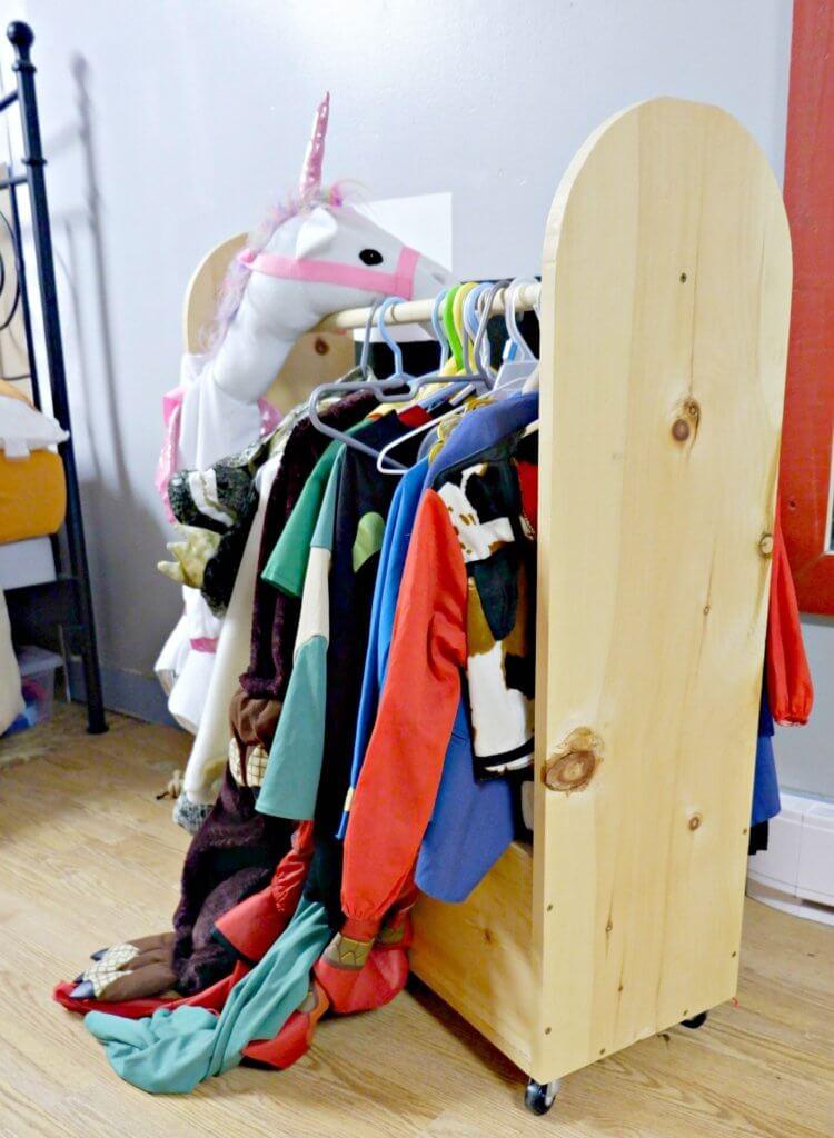 declutter organize kids toys dress up clothes storage caddy diy costume storage parenting moncton