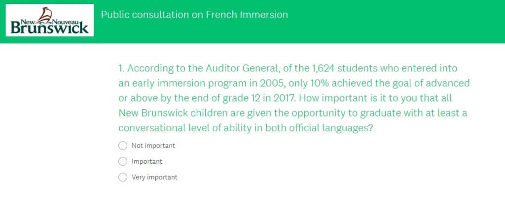 new brunswick government survey french immersion review early entry point