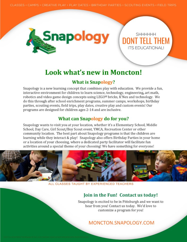snapology moncton kids camps programs science steam summer birthday parties