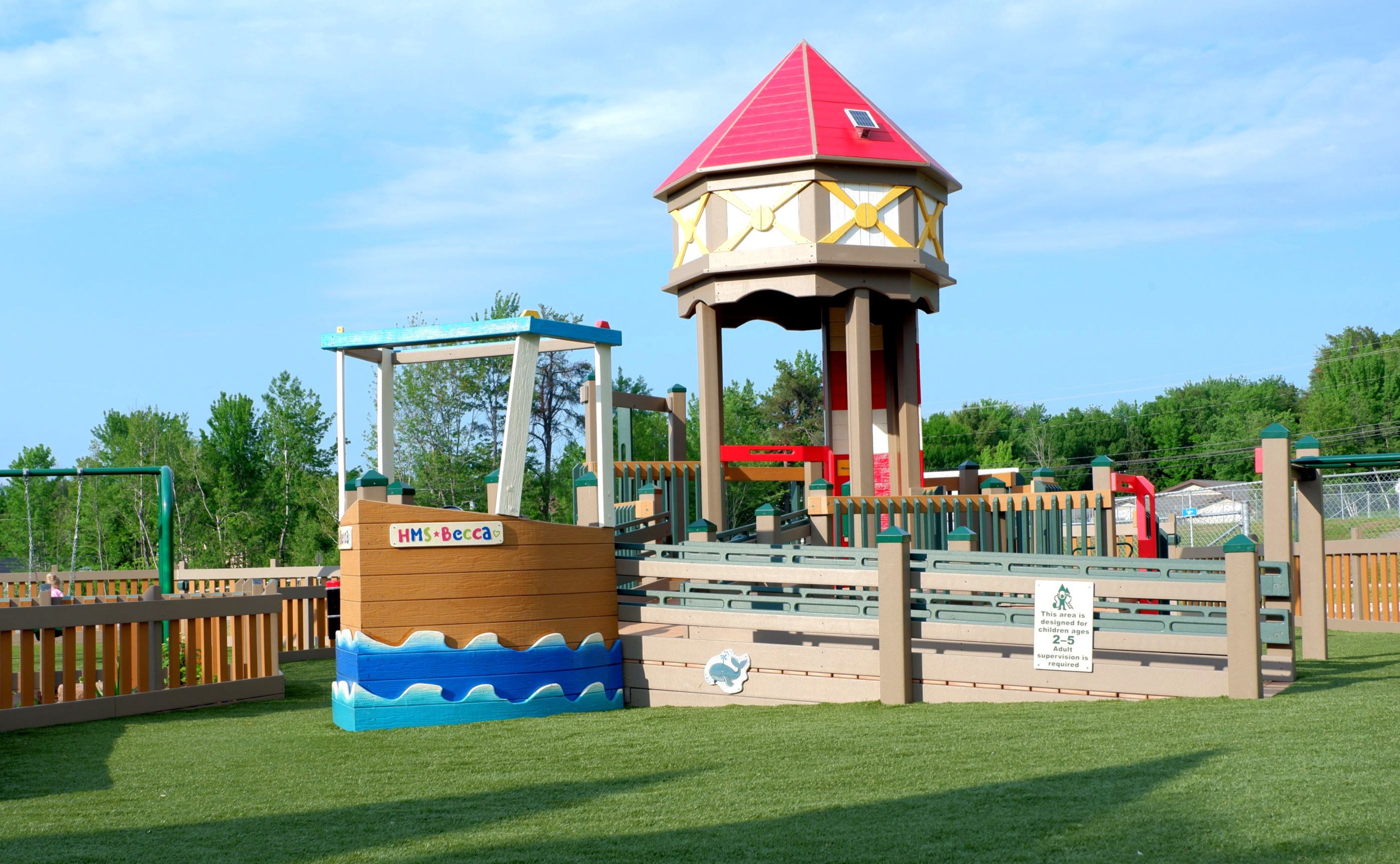 A playground named in honour of Rebecca Schofield features many New Brunswick-inspired elements like boats and lighthouses.
