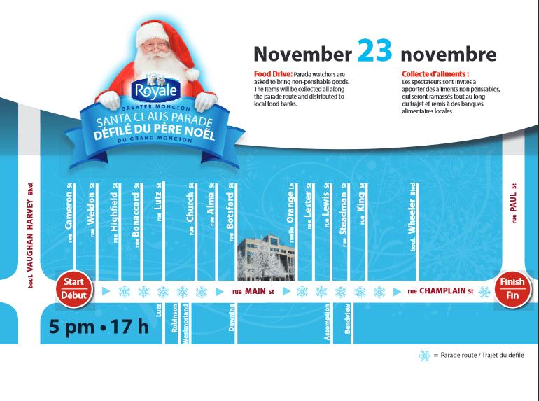moncton santa parade 2019 route parking where to watch