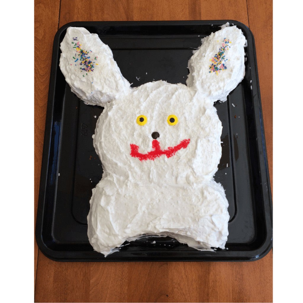 easy easter bunny cake decorated