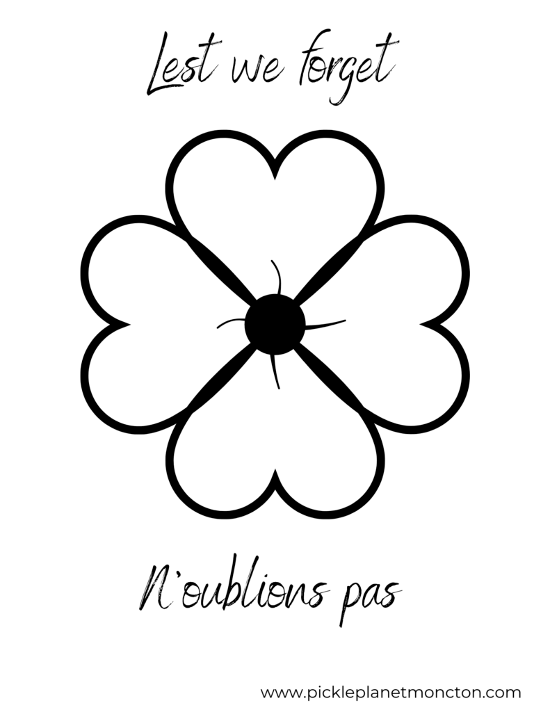 remembrance day poppy colouring sheet N'oublions pas kindergarten elementary craft pickle planet