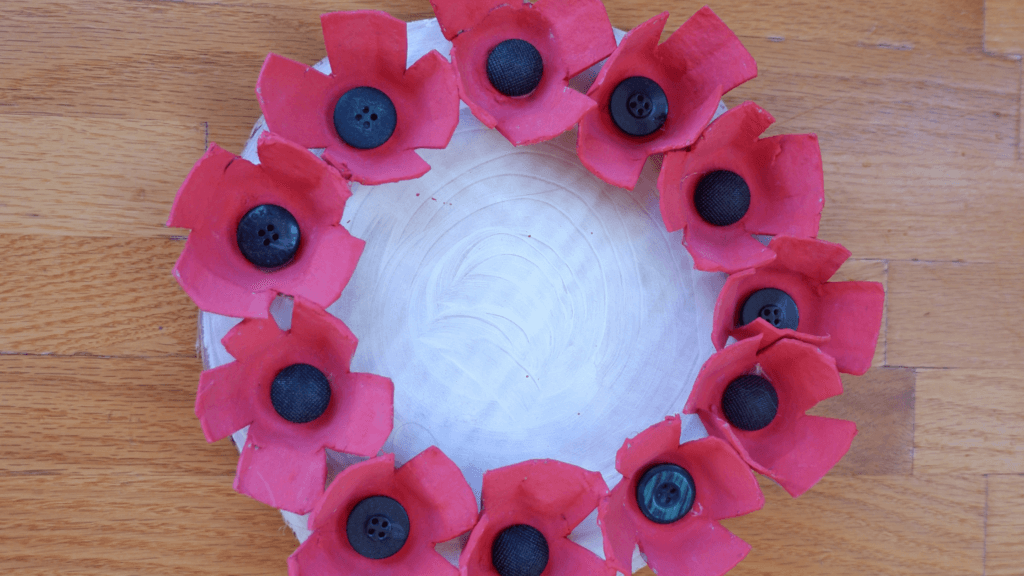 remembrance day crafts kids preschool november pickle planet wreath egg carton poppy