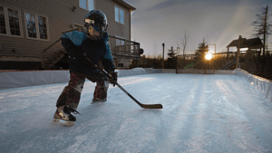 how to make DIY backyard ice rink skating hockey