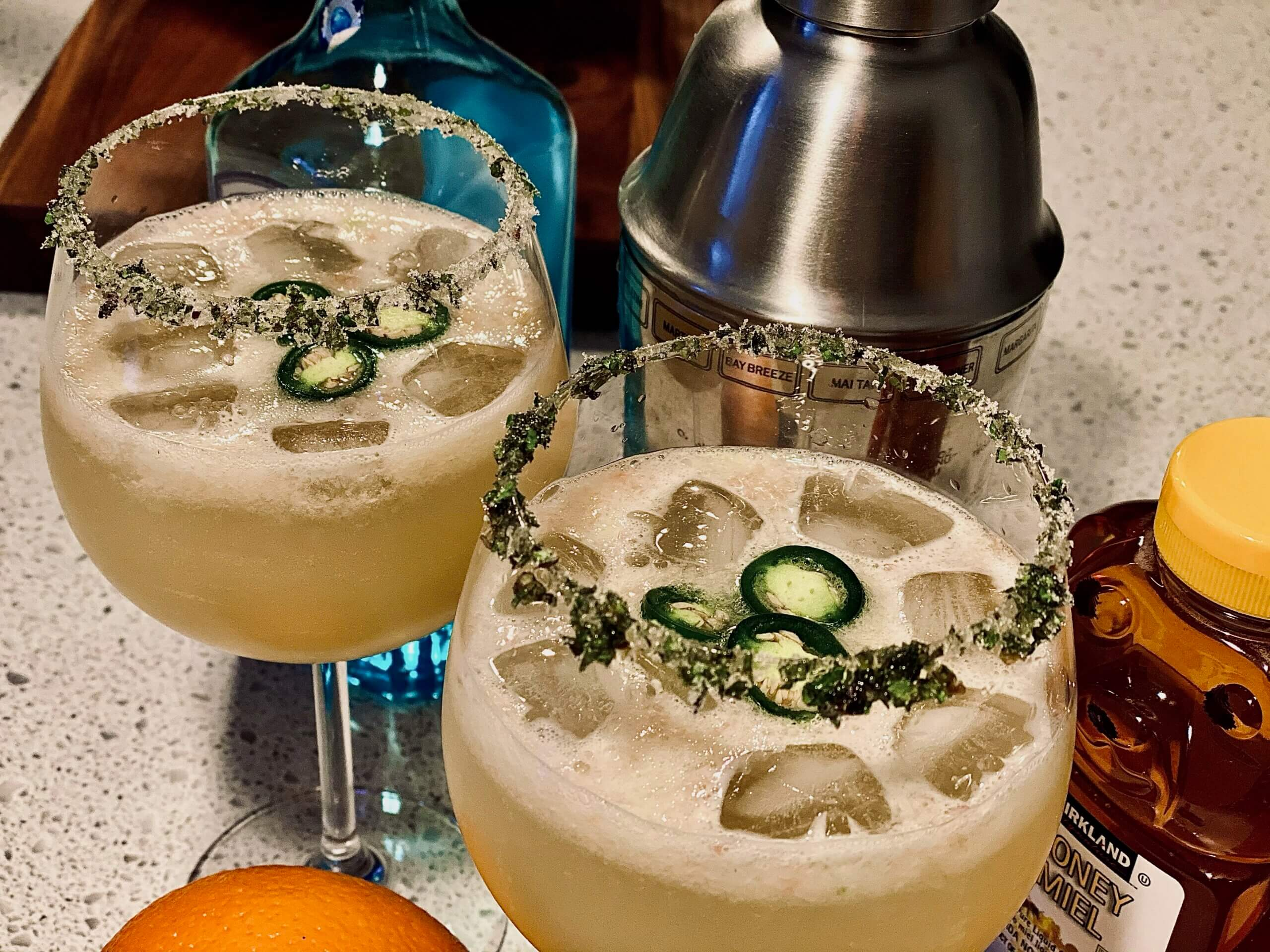 spicy holiday cocktail recipe grinch jalapenos gin vodka