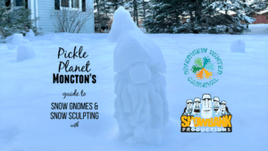 snow gnome on pickle planet moncton front yard riverview winter carnival snowbank productions