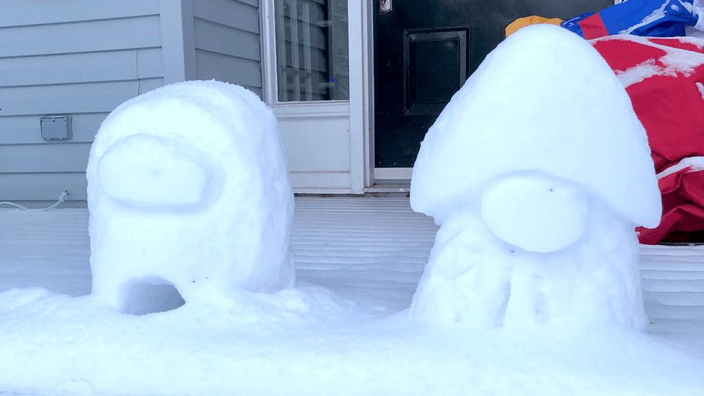 snow gnome among us sculpture