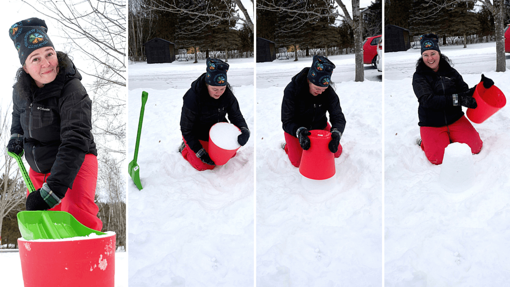 showing how to pack snow for creating sculptures