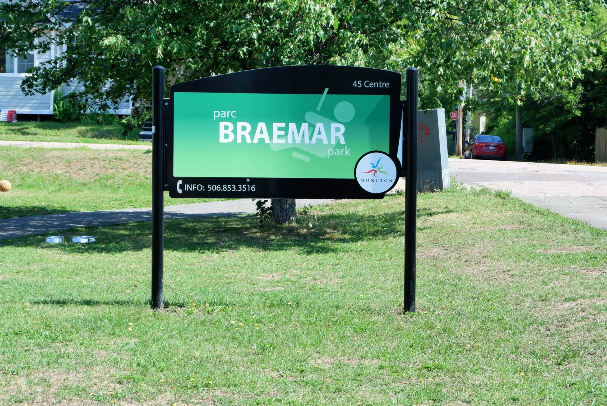 sign for Braemar Park Centre Street Playground Moncton Pickle Planet