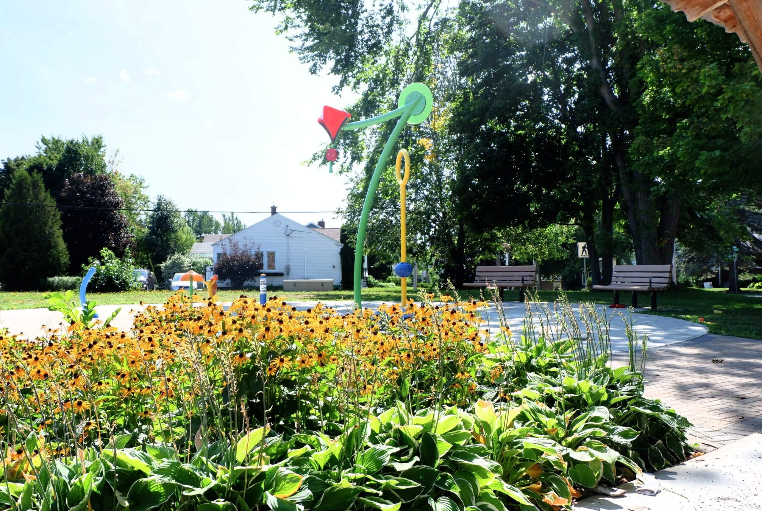 Braemar Park Centre Street Playground Moncton Pickle Planet splash feature shade