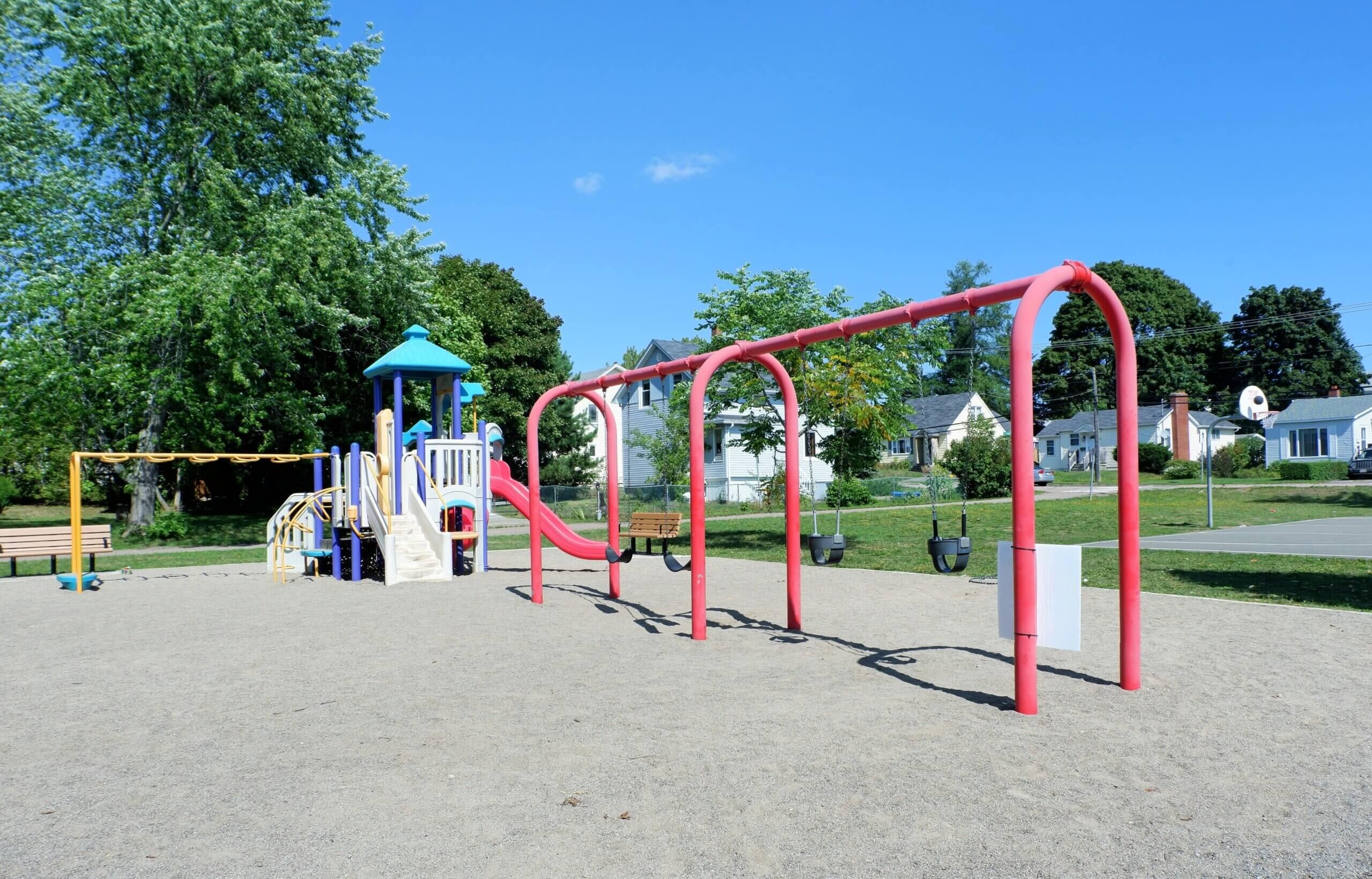 Braemar Park Centre Street Playground Moncton Pickle Planet swings