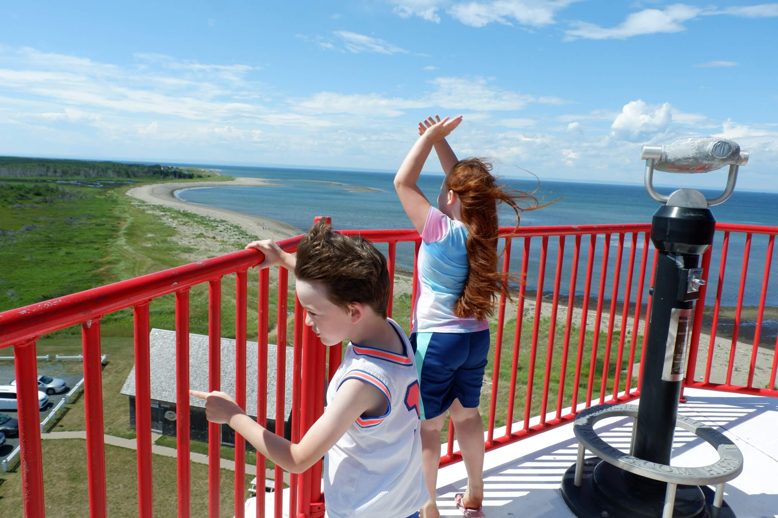 Pickle Planet kids at Miscou Lighthouse