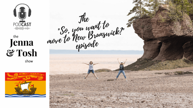 jenna morton and tosh taylor jumping for joy at the hopewell rocks in new brunswick, celebrating a podcast episode all about moving to the moncton area