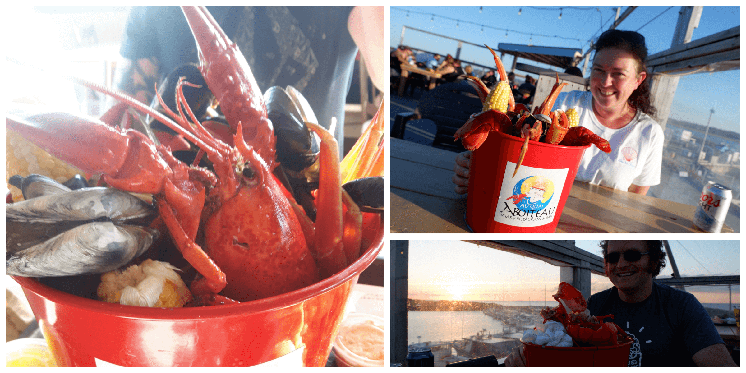 people enjoying a bucket of seafood next to the atlantic ocean in new brunswick at Aboiteau Wharf Restaurant