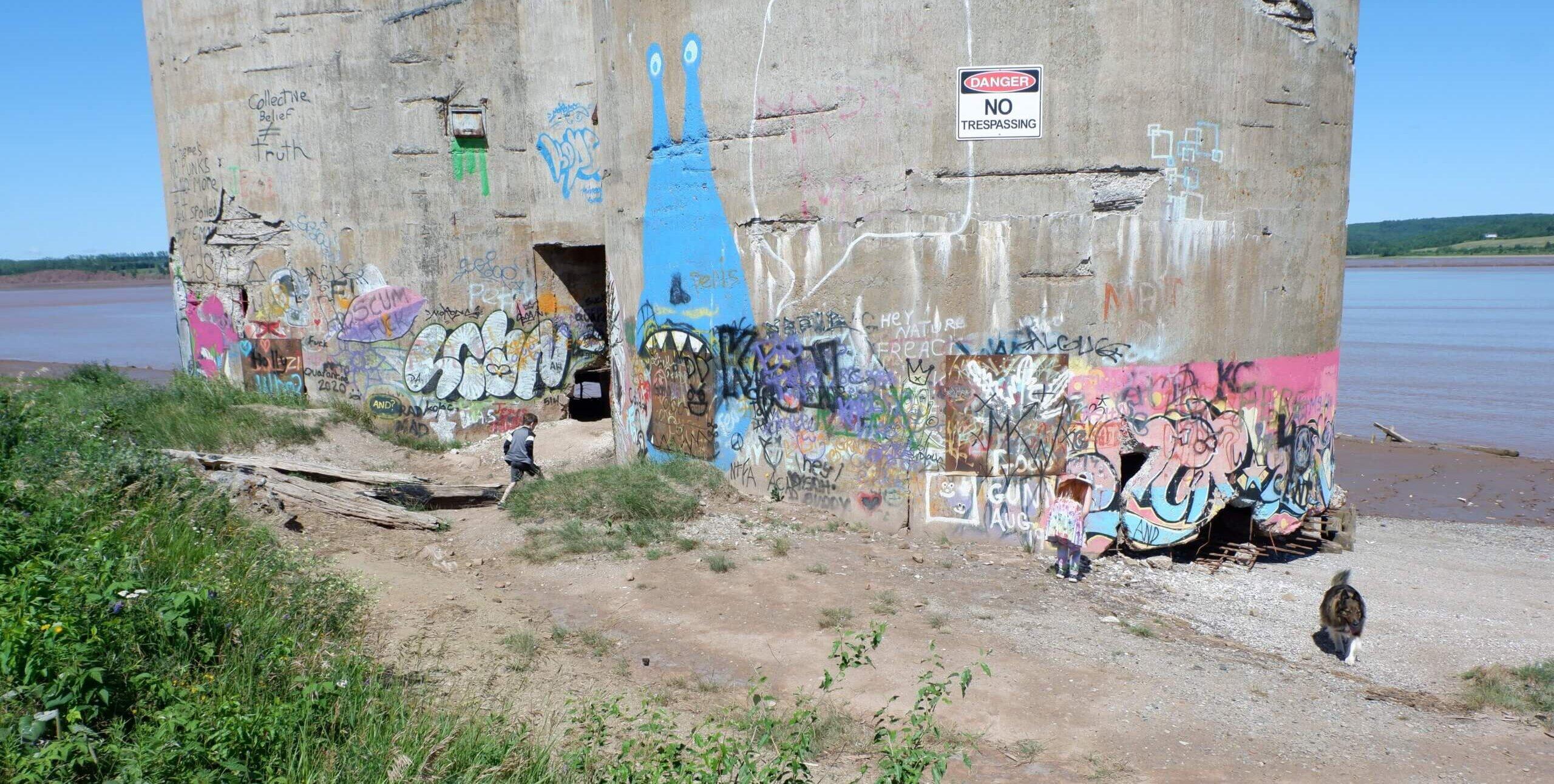 pickle planet children looking at graffiti on former gypsum silos by petitcodiac river in hillsborough new brunswick