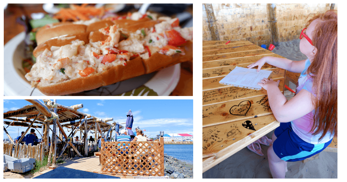 collage photo of a lobster roll on a plate at La terrasse à Steve on Miscou Island with ocean views and child with feet in the sand
