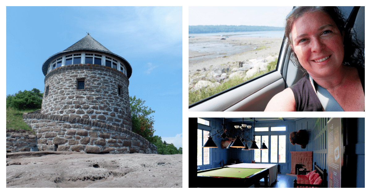 collage of photos from minister's island new brunswick which you reach by crossing the ocean floor by car while tide is low