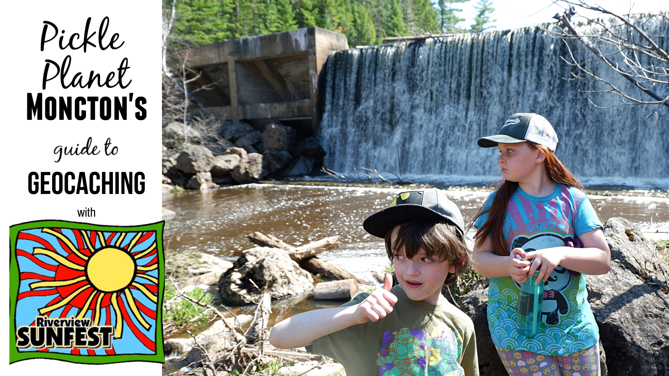 beginners guide to geocaching at riverview's sunfest pickle planet children in front of mill creek dam waterfall