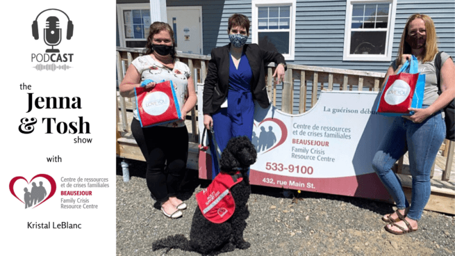jenna morton kristal leblanc la belle marielle trauma service dog and tosh taylor standing with shoppers drug mart swag bags for the run for women fundraiser for the beausejour family resource crisis centre