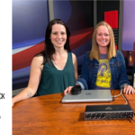 pauline axford tosh taylor jenna morton in studio after recording a podcast